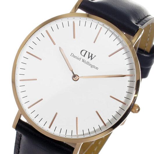 ダニエル ウェリントン シェフィールド/ローズ 40mm クオーツ 腕時計 0107DW (DW00100007) ホワイト