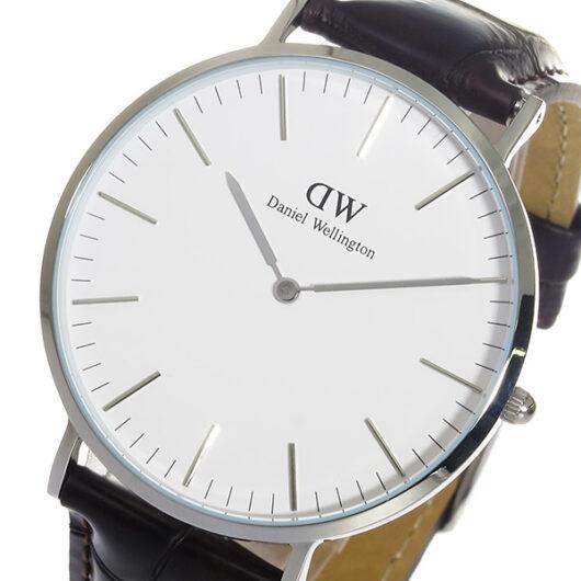ダニエル ウェリントン ヨーク/シルバー 40mm クオーツ 腕時計 0211DW DW00100025 ホワイト