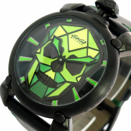 ガガミラノ GAGA MILANO 腕時計 メンズ 506203S 自動巻き ブラック×ライトグリーン ブラック ブラック