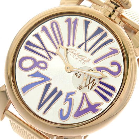 ガガミラノ GAGA MILANO SLIM スリム 46mm 腕時計 クオーツ メンズ 5081.3 シルバー ピンクゴールド ホワイト