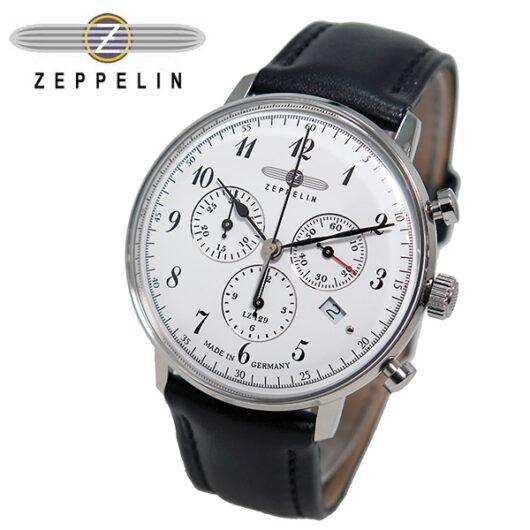 ツェッペリン ZEPPELIN ヒンデンブルク クオーツ メンズ クロノ 腕時計 7086-1 ホワイト