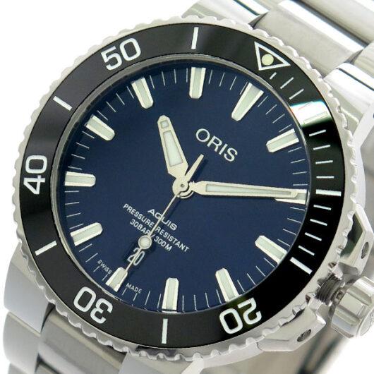 オリス ORIS 腕時計 メンズ 73377304135M アクイス AQUIS 自動巻き ネイビー シルバー ネイビー