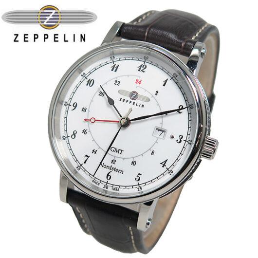 ツェッペリン ZEPPELIN ノルドスタン GMT クオーツ メンズ 腕時計 7546-1 ホワイト