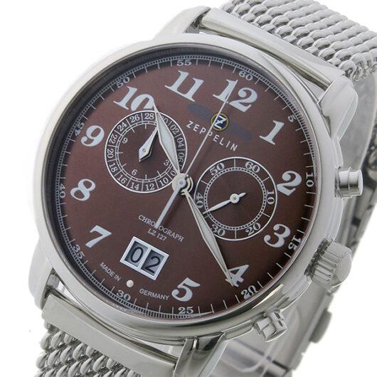 ツェッペリン ZEPPELIN クロノ クオーツ メンズ 腕時計 7684M-3 ブラウン ブラウン