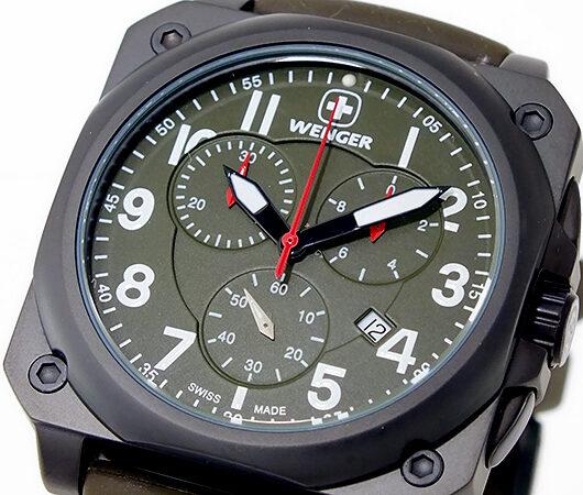 ウェンガー WENGER エアログラフ コックピット クオーツ メンズ クロノ 腕時計 77011 カーキ