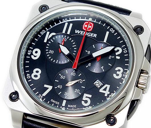 ウェンガー WENGER エアログラフ コックピット クオーツ メンズ クロノ 腕時計 77015 ブラック