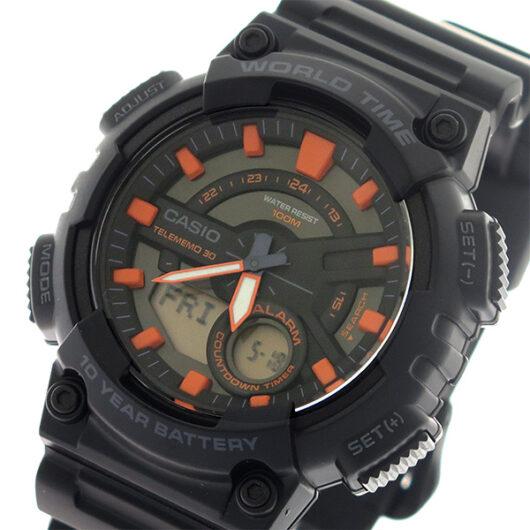 【希少逆輸入モデル】 カシオ CASIO  クオーツ メンズ 腕時計 AEQ-110W-1A2 ブラック/ブラック ブラック