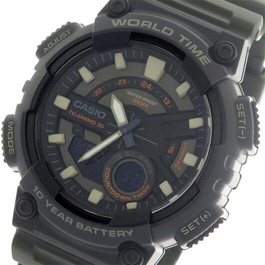 【希少逆輸入モデル】 カシオ CASIO  クオーツ メンズ 腕時計 AEQ-110W-3A ブラック/カーキ ブラック