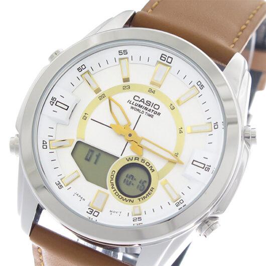 【希少逆輸入モデル】 カシオ CASIO  クオーツ メンズ 腕時計 AMW-810L-5A ホワイト/ライトブラウン ホワイト