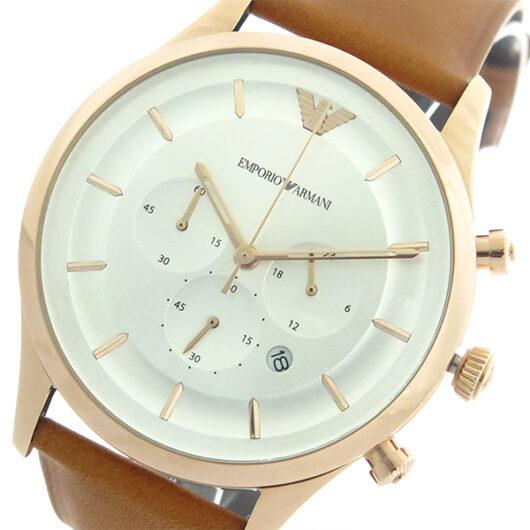 エンポリオ アルマーニ EMPORIO ARMANI KAPPA クロノ クオーツ メンズ 腕時計 AR11043 シルバー/キャメル シルバー