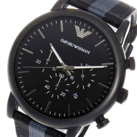 エンポリオ アルマーニ ARMANI クロノ クオーツ メンズ 腕時計 AR1948 ブラック ブラック