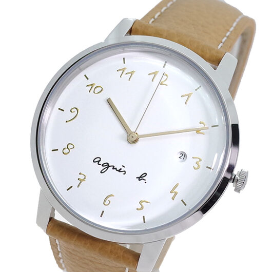 アニエスベー AGNS B 腕時計 メンズ BG8007X1 クォーツ ホワイト ライトブラウン