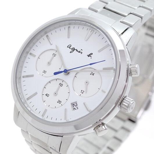 アニエスベー AGNS B 腕時計 メンズ BT3035X1 クォーツ ホワイト シルバー