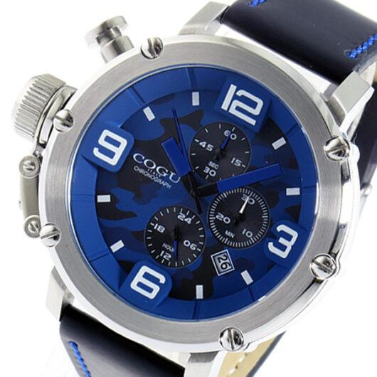 コグ COGU クオーツ クロノ メンズ 腕時計 C61-CBL ブルーカモフラ ブルー