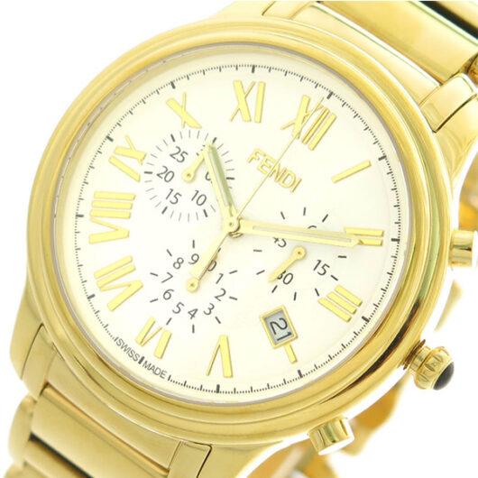 フェンディ FENDI 腕時計 メンズ F252414000 クラシコクロノ クォーツ ホワイト ゴールド ホワイト