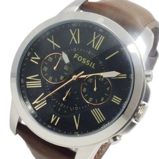フォッシル FOSSIL グラント クオーツ メンズ クロノ 腕時計 FS4813 ブラウン ブラック