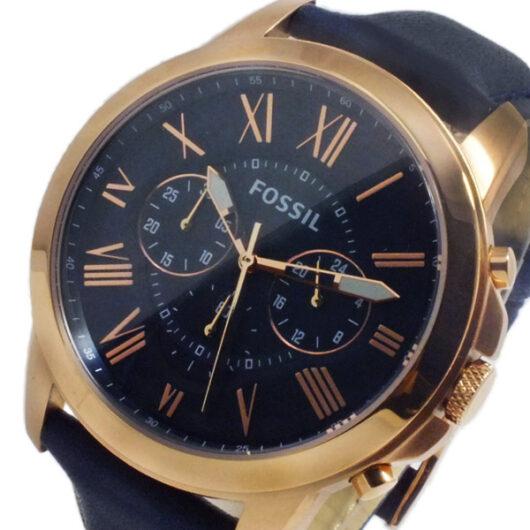 フォッシル FOSSIL グラント クオーツ メンズ クロノ 腕時計 FS4835 ネイビー ネイビー