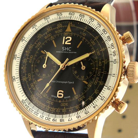ゾンネ SONNE パイロットクロノグラフタイプⅡ クオーツ メンズ 腕時計 HI004PG-BR ブラック/ブラウン ブラック