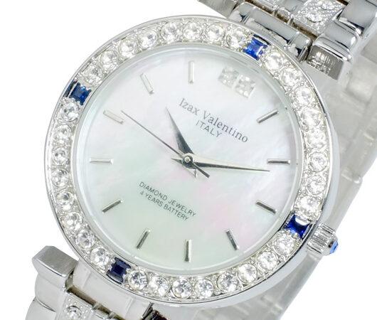 アイザック バレンチノ IZAX VALENTINO クオーツ メンズ 天然サファイア 腕時計 IVG-9100-1 ホワイトシェル