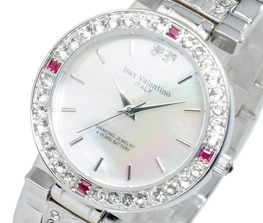 アイザック バレンチノ IZAX VALENTINO クオーツ メンズ 天然ルビー 腕時計 IVG-9100-2 ホワイトシェル