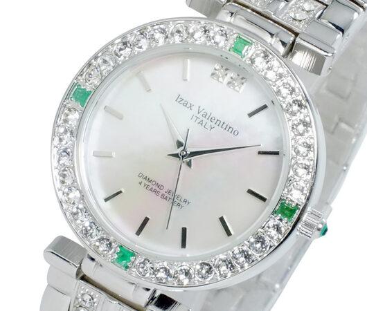 アイザック バレンチノ IZAX VALENTINO クオーツ メンズ 天然エメラルド 腕時計 IVG-9100-3 ホワイトシェル