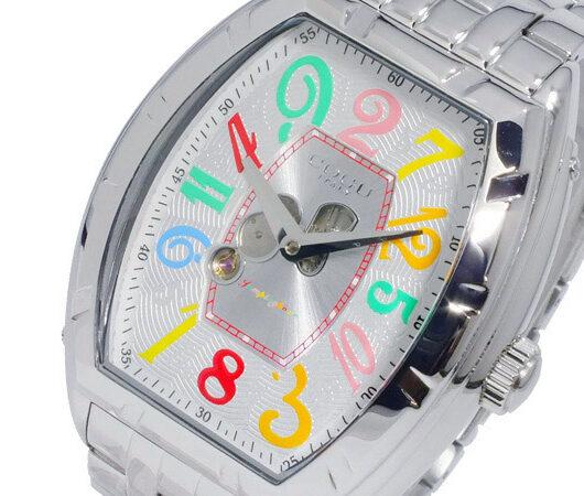 コグ COGU 自動巻き ジャンピングアワー メンズ 腕時計 JH7M-WCL シルバー ホワイト