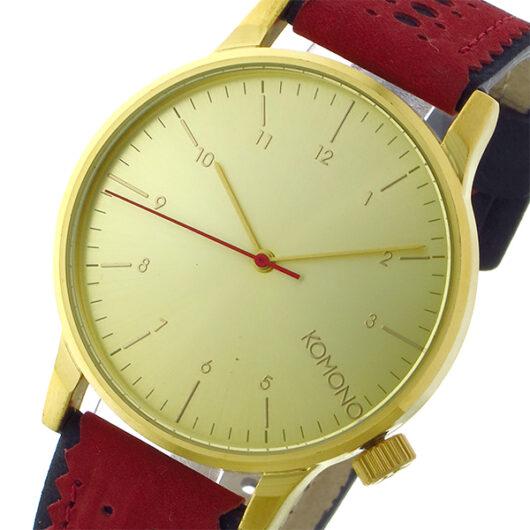 コモノ KOMONO Winston Brogue-Red Jazz クオーツ メンズ 腕時計 KOM-W2016 ゴールド ゴールド