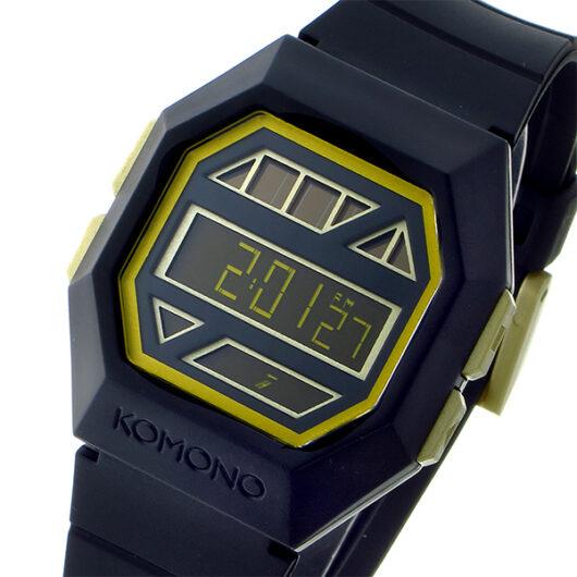 コモノ KOMONO Power Grid Black Gold ソーラー デジタル メンズ 腕時計 KOM-W2051 ブラック・金縁 ブラック
