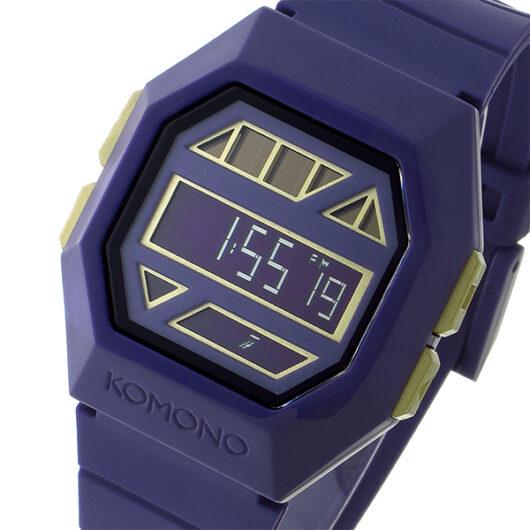 コモノ KOMONO Power Grid Purple Gold ソーラー デジタル メンズ 腕時計 KOM-W2052 パープル・黒縁 パープル