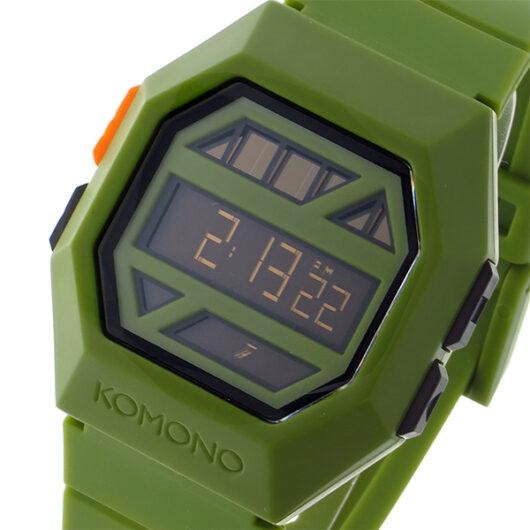 コモノ KOMONO Power Grid Army ソーラー デジタル メンズ 腕時計 KOM-W2053 グリーン・黒縁 グリーン