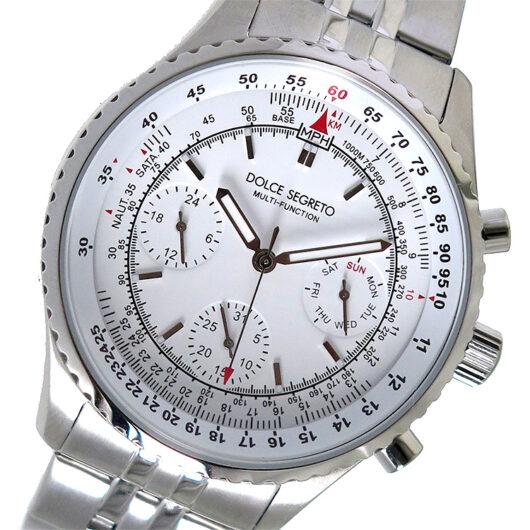 ドルチェセグレート DOLCE SEGRETO クロノ クオーツ メンズ 腕時計 MBR100WH ホワイト ホワイト