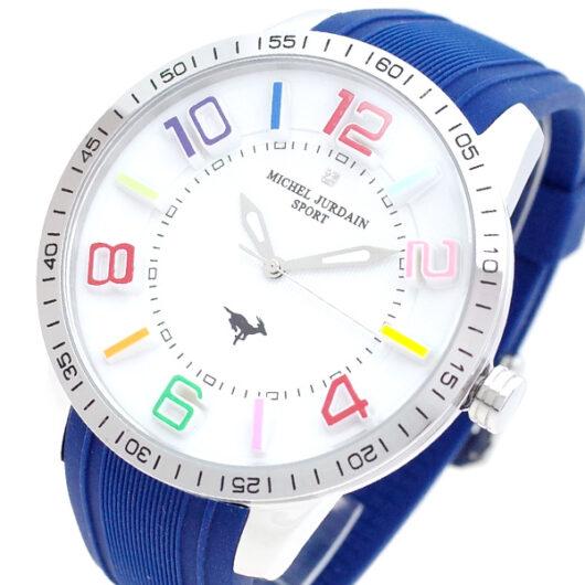 ミッシェルジョルダン MICHEL JURDAIN 腕時計 メンズ MJ-7700-SS-COL-NV MICHEL JURDAIN SPORT クォーツ ホワイト ネイビー