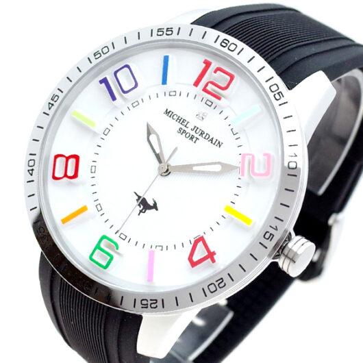 ミッシェルジョルダン MICHEL JURDAIN 腕時計 メンズ MJ-7700-SS-WH-BK MICHEL JURDAIN SPORT クォーツ ホワイト ブラック