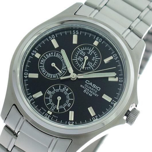 【希少逆輸入モデル】 カシオ CASIO クオーツ メンズ 腕時計 MTP-1246D-1A ブラック/シルバー ブラック