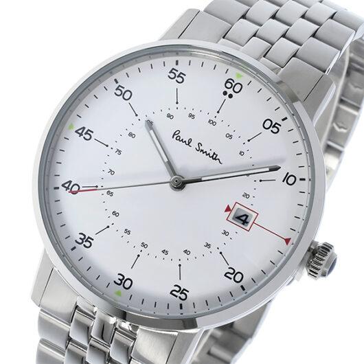 ポールスミス PAUL SMITH ゲージ GAUGE クオーツ メンズ 腕時計 P10074 ホワイト ホワイト