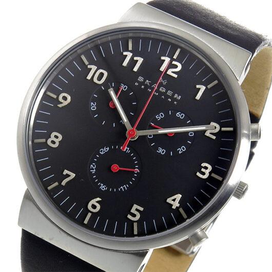 スカーゲン SKAGEN アンカー クロノ クオーツ メンズ 腕時計 SKW6100 ブラック ブラック