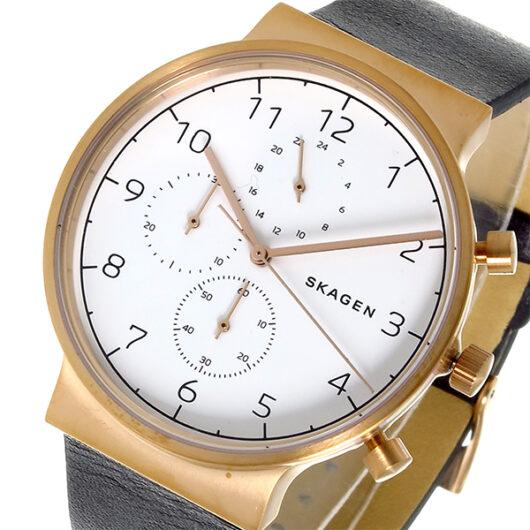 スカーゲン SKAGEN アンカー ANCHER クロノ クオーツ メンズ 腕時計 SKW6371 ホワイト ホワイト