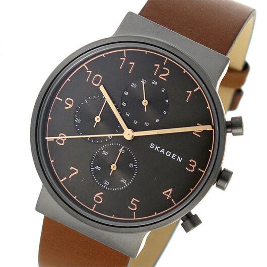 スカーゲン SKAGEN アンカー クロノ クオーツ メンズ 腕時計 SKW6418 メタルブラウン ブラウン
