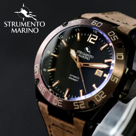 ストルメントマリーノ STRUMENTO MARINO ディフェンダー ダイバーズ 自動巻き メンズ 腕時計 SM104-L-BK-NR-MR ブラック ブラック