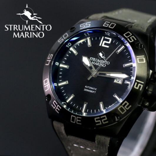 ストルメントマリーノ STRUMENTO MARINO ディフェンダー ダイバーズ 自動巻き メンズ 腕時計 SM104-L-BK-NR-NR ブラック ブラック