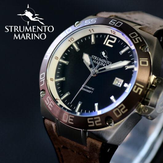 ストルメントマリーノ STRUMENTO MARINO ディフェンダー ダイバーズ 自動巻き メンズ 腕時計 SM104-L-SS-NR-MR ブラック ブラック