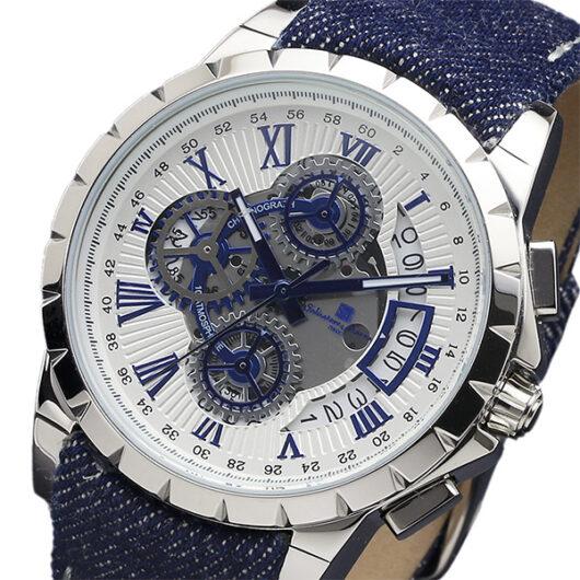 サルバトーレマーラ クロノ クオーツ メンズ 腕時計 SM13119D-SSWHBLBL ホワイト ホワイト