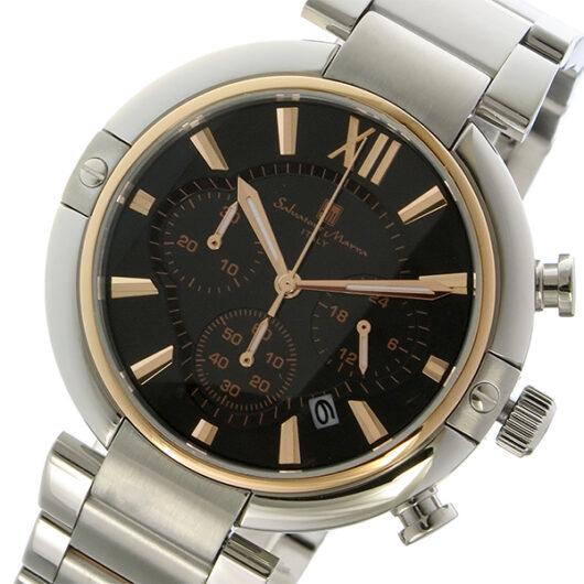 サルバトーレマーラ クロノ クオーツ メンズ 腕時計 SM17106-PGBK ブラック/ピンクゴールド ブラック