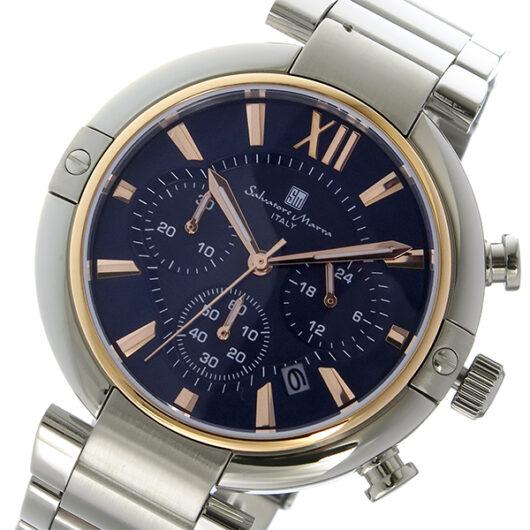 サルバトーレマーラ クロノ クオーツ メンズ 腕時計 SM17106-PGBL ダークブルー/ピンクゴールド ダークブルー