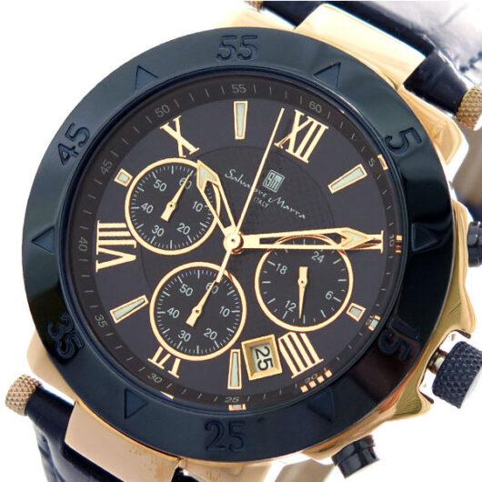 サルバトーレマーラ SALVATORE MARRA クオーツ クロノ 腕時計 SM8005S-PGNV ダークネイビー ローズゴールド ブルー
