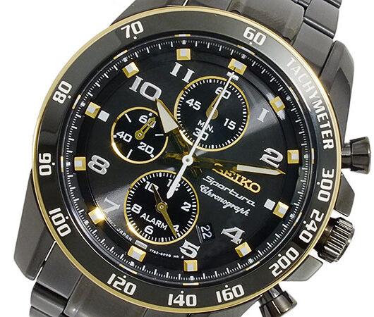 セイコー SEIKO Sportura クロノグラフ メンズ 腕時計 SNAF34P1 ブラック