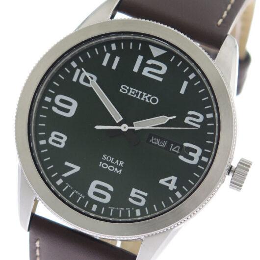 セイコー SEIKO  クオーツ メンズ 腕時計 SNE473P グリーン/ブラウン グリーン