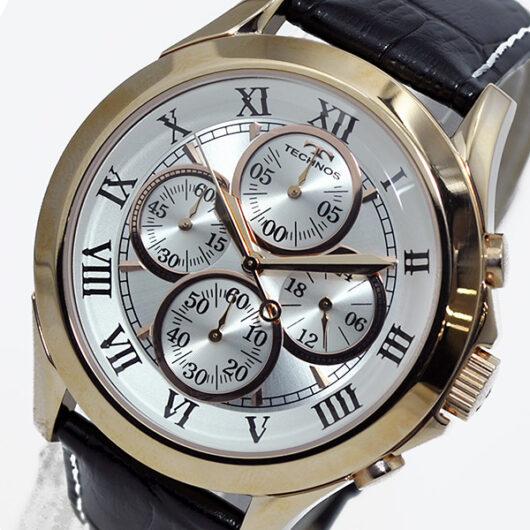 テクノス TECHNOS クオーツ メンズ クロノ 腕時計T4345PS シルバー シルバー