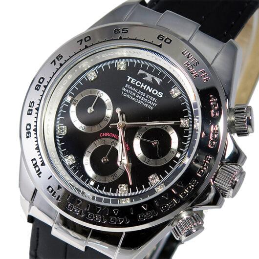 テクノス TECHNOS クオーツ メンズ クロノ 腕時計 T4392LB シルバー ブラック