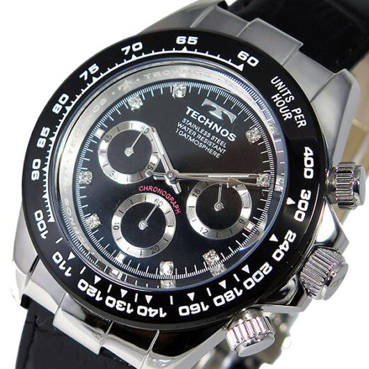 テクノス TECHNOS クオーツ メンズ クロノ 腕時計 T4392LT ブラック ブラック